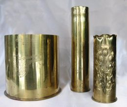 The shell cases, cripple works. Nanny brought them home after the time at the war front in Belgium during WW1